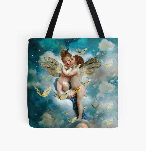 """""""Angels in love in heaven with butterflies""""  All Over Print Tote Bag"""