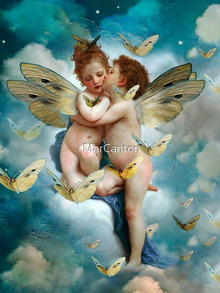 """""""Angels in love in heaven with butterflies""""  de MarCanton"""