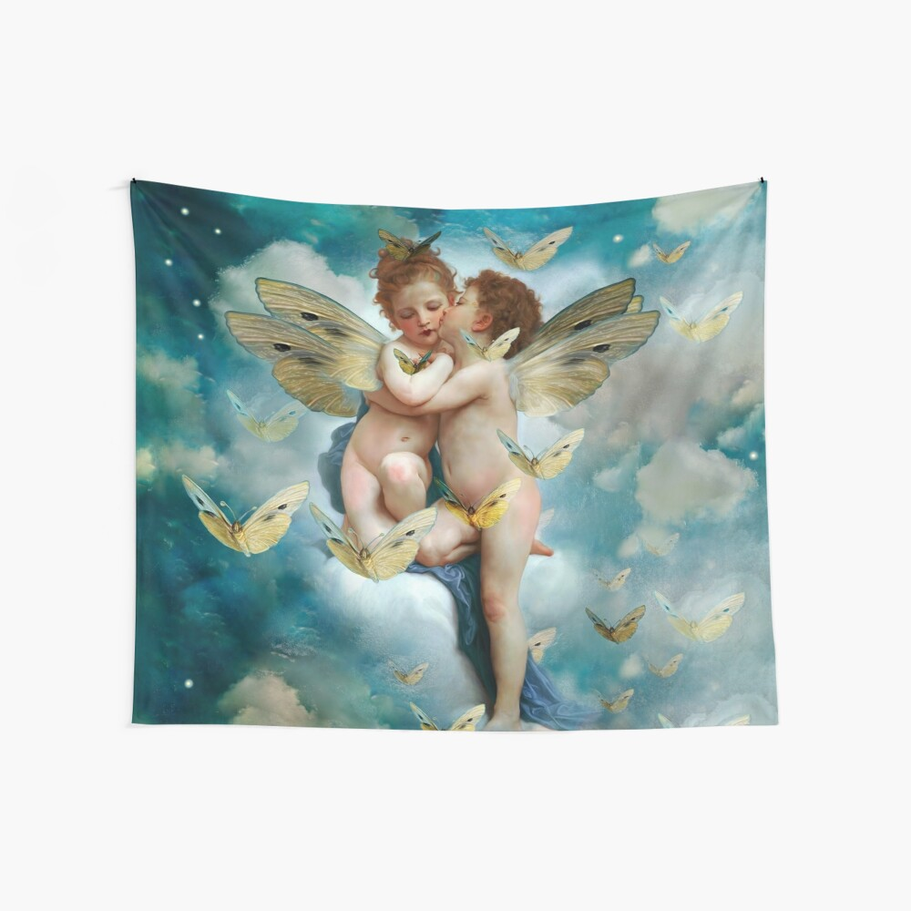 """Angels in love in heaven with butterflies""  Tela decorativa"
