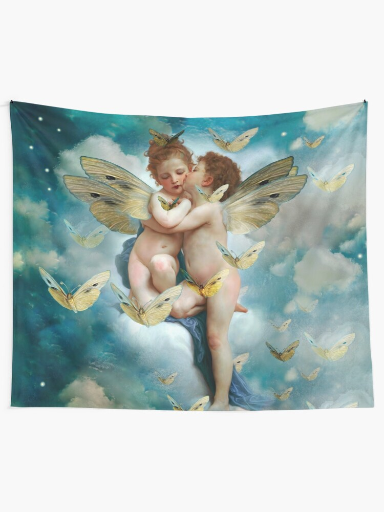 """Vista alternativa de Tela decorativa """"Angels in love in heaven with butterflies"""""""