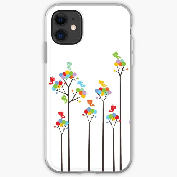 Colorful Whimsical Tweet Birds On Dark Branches With Dotted Trees iPhone Soft Case