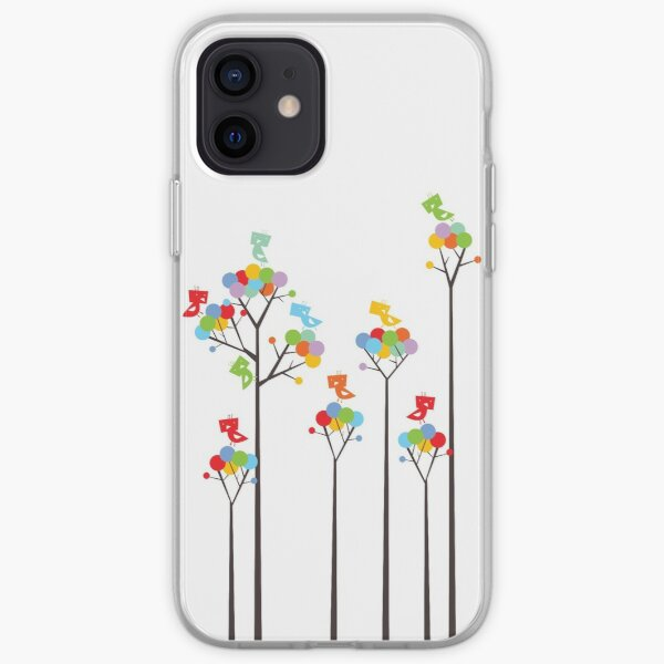 Colorful Whimsical Tweet Birds On Dark Branches Of Dotted Trees iPhone Soft Case