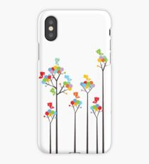 Colorful Tweet Birds On Dotted Trees With Dark Branches iPhone Case/Skin