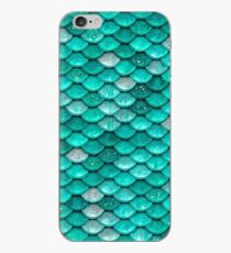 Aqua Turquoise Sparkle Faux Glitter Mermaid Scales iPhone Case