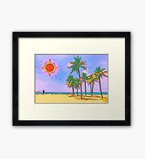Great vacation on the Caribbean with palm trees, sand, blue sky and red yellow sun Framed Print