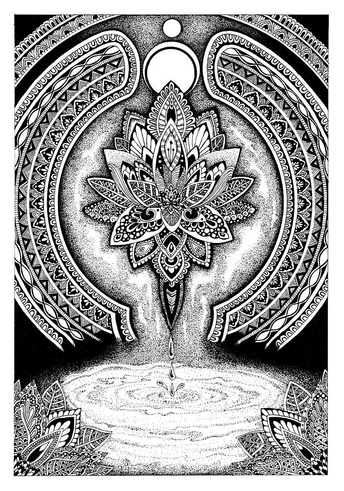 Zendoodle lotus flower II by tekslusdesign