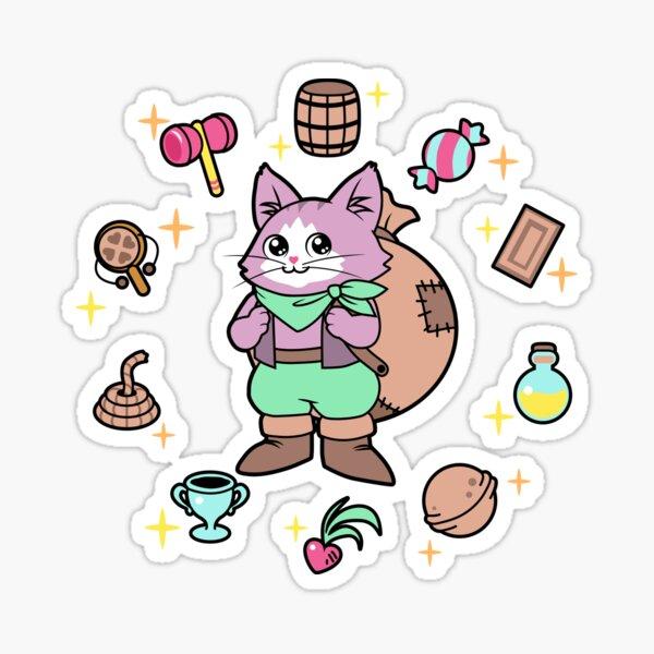 Comerciante de gatos Neko. Secret of Mana (blanco) Pegatina