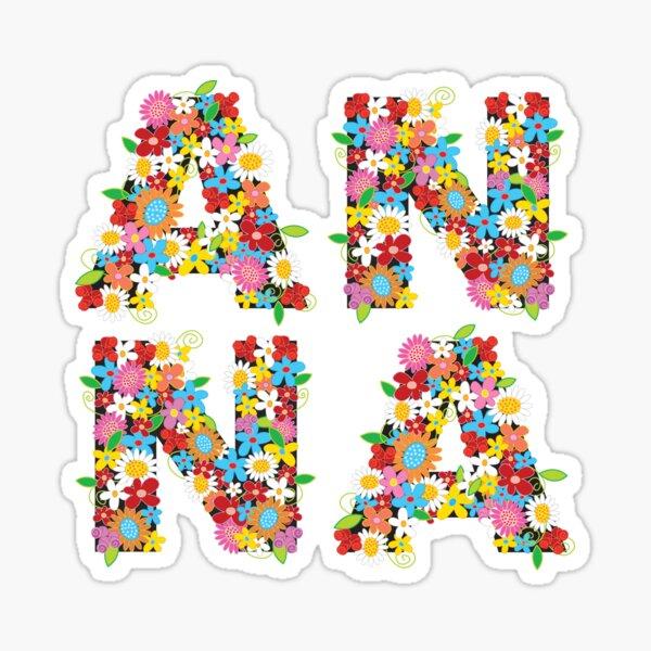 Spring Flowers Alphabets Name 'ANNA' Sticker