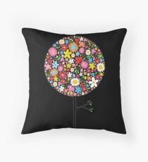 Whimsical Colorful Spring Flowers Pop Tree Throw Pillow