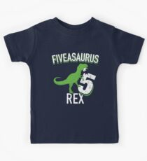 5th Birthday Shirt Boy Dinosaur - Fiveasaurus Rex Dino Party T-Shirt Kids Tee