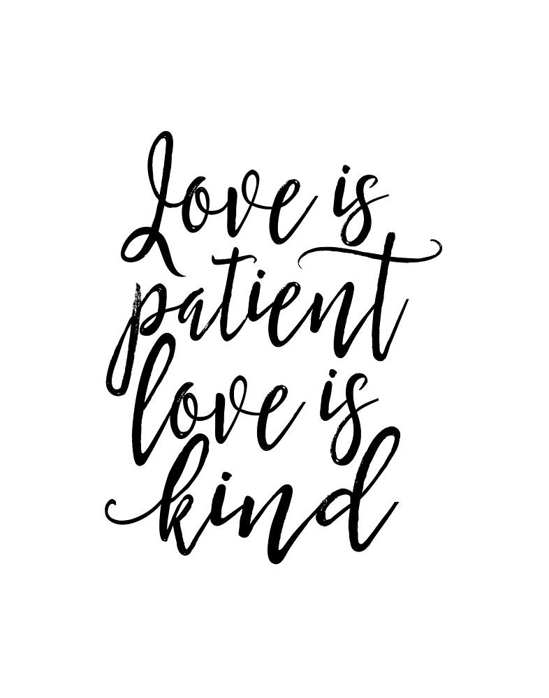 Love Is Patient Love Is Kind,1 Corinthians 13:4, Bible Verse, Scripture  Art,Bible Cover, Quote Prints