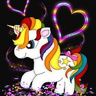 Rainbow Unicorn, Stars and Hearts by LoneAngel
