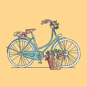 Blaues Retro- Fahrrad mit Tulpen von sundrystudio