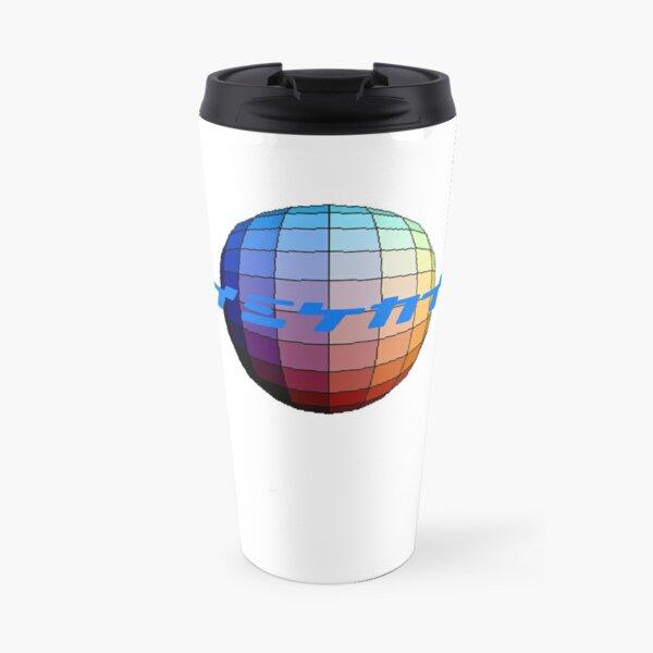 ten:ten logo, japanese text on colour sphere Travel Mug