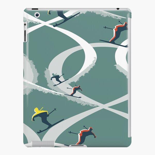 Mid Century Figure 8 Skiers in Retro Style on Teal iPad Snap Case