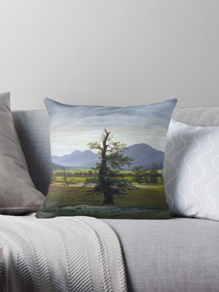 Caspar David Friedrich The Lone Tree Throw Pillow By Fineearth Redbubble