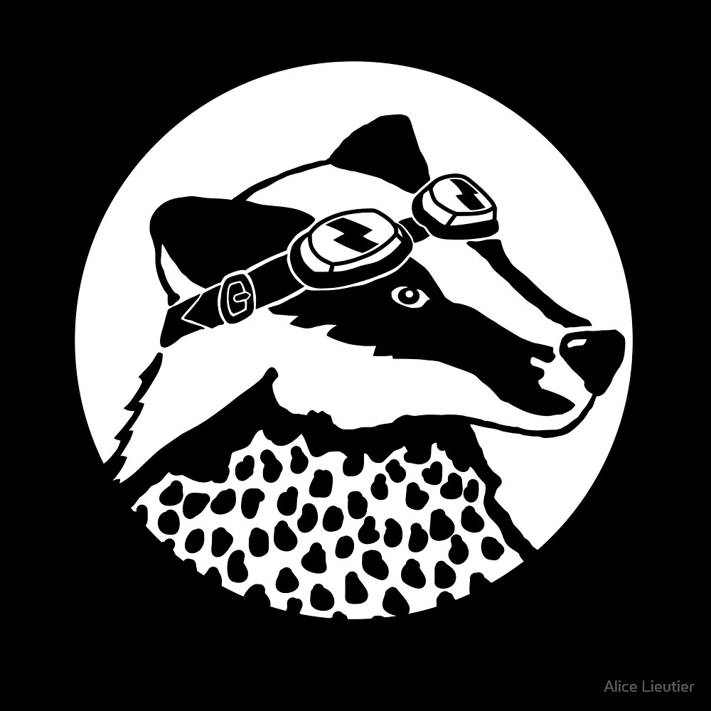 Badger - black and white by Alice Lieutier