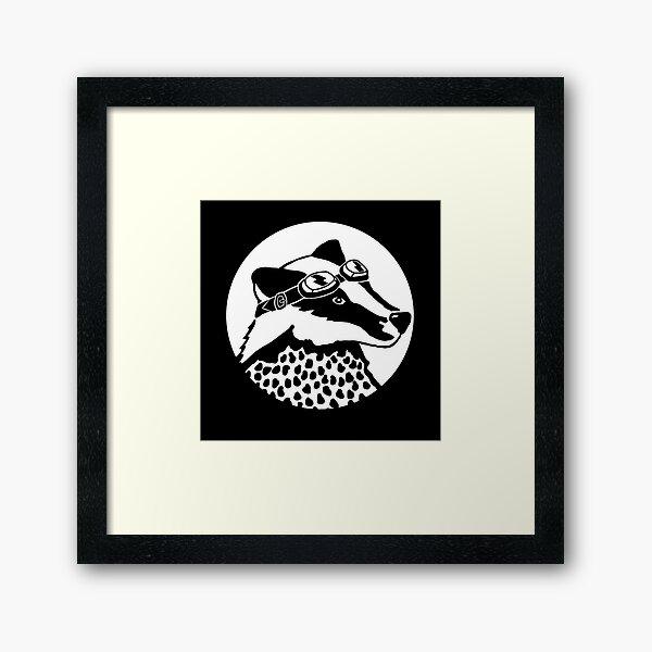 Badger - black and white Framed Art Print