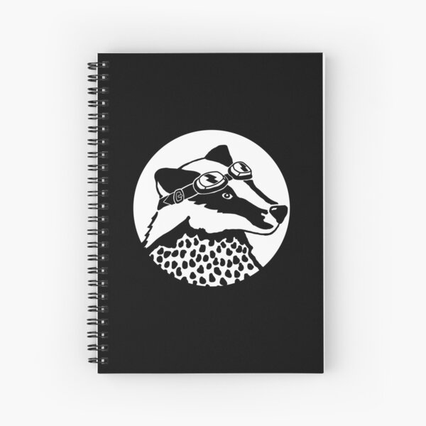 Badger - black and white Spiral Notebook