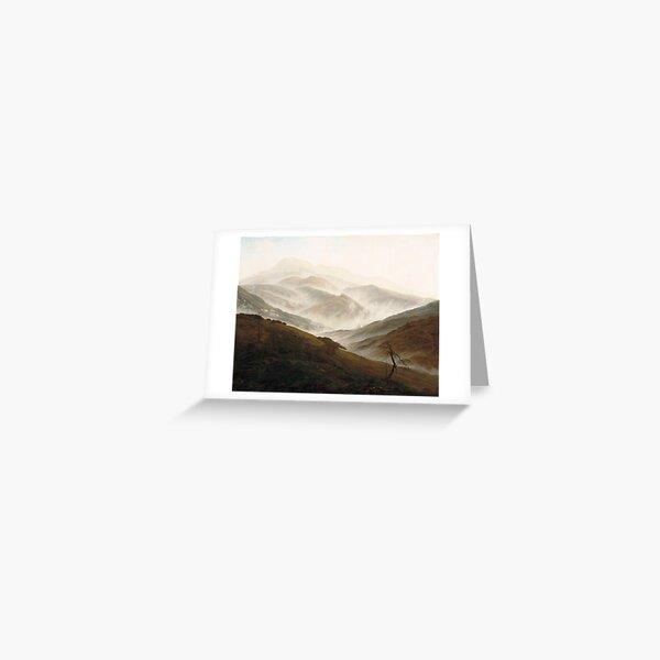 Mountain with Ascending Mist by Caspar David Friedrich Greeting Card