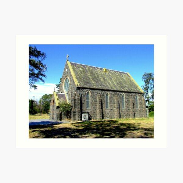 Blue stone church Art Print