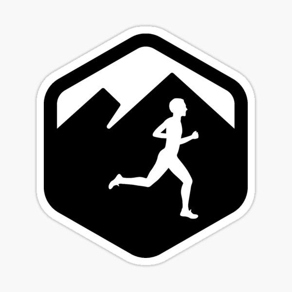 Corredor de montaña realizando trail running Pegatina