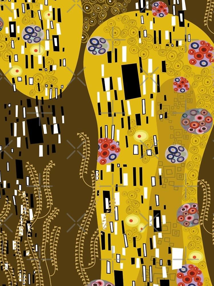 Klimt Art Nouveau Golden Art   'The Kiss' Inspired by fatfatin