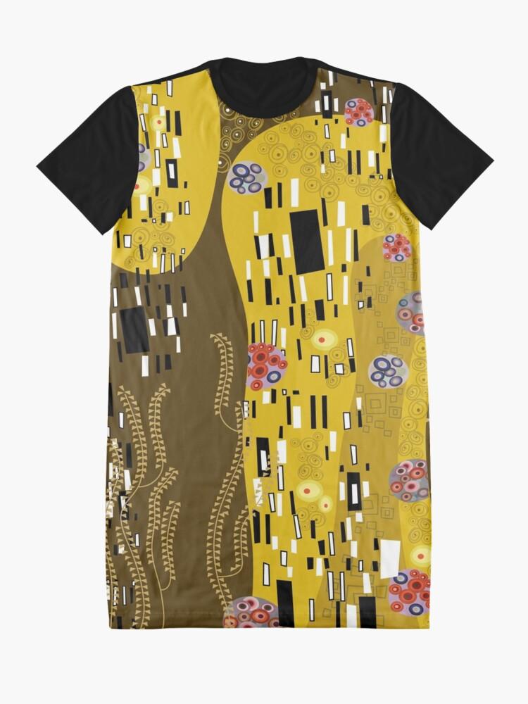 Alternate view of Klimt Art Nouveau Golden Art   'The Kiss' Inspired Graphic T-Shirt Dress