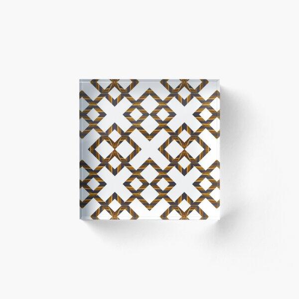 Ornament, decor, tracery, garniture, pattern, design, weave Acrylic Block