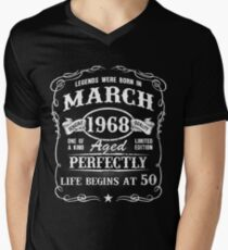 Born in March 1968 - legends were born in March Men's V-Neck T-Shirt