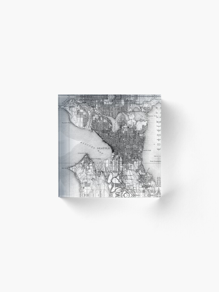 Alternate view of Vintage Map of Seattle Washington (1908) BW Acrylic Block
