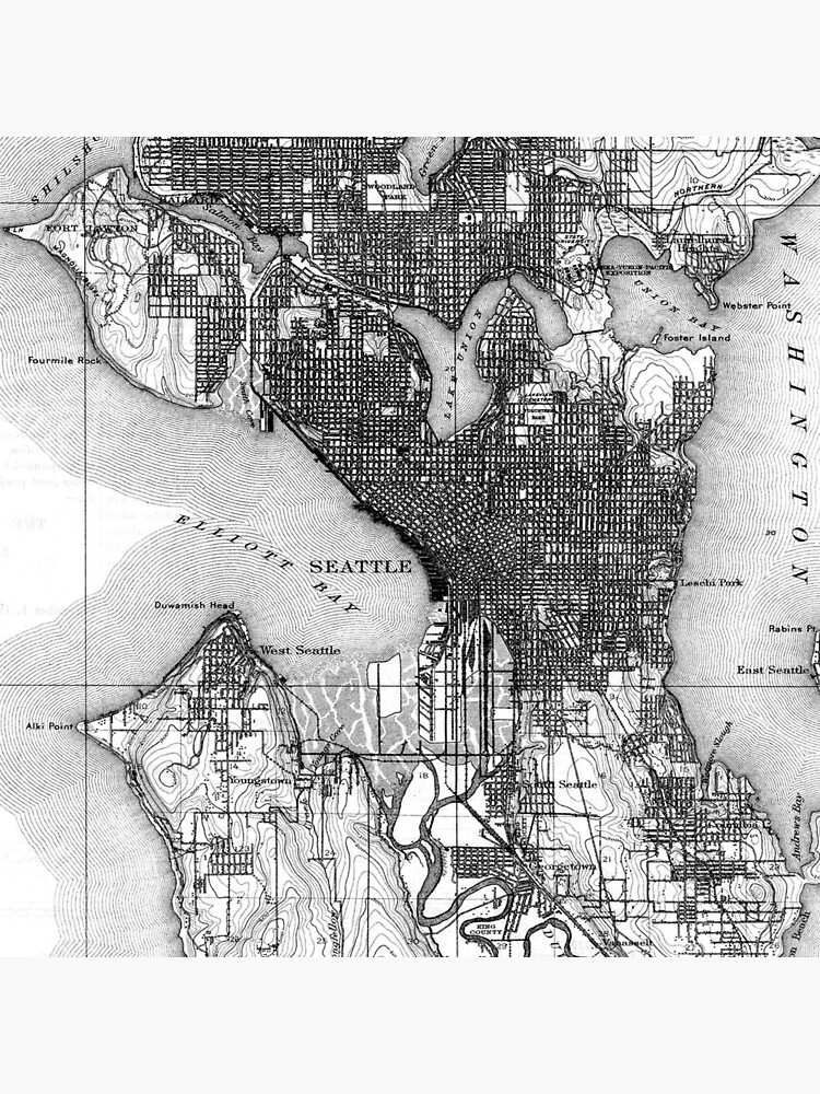 Vintage Map of Seattle Washington (1908) BW by BravuraMedia
