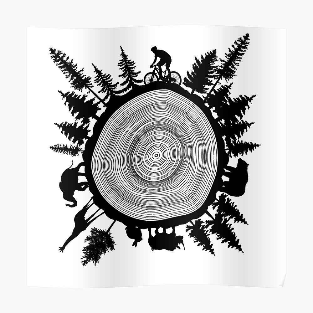 Into The Woods Tree Ring Sticker By Maryedenoa Redbubble