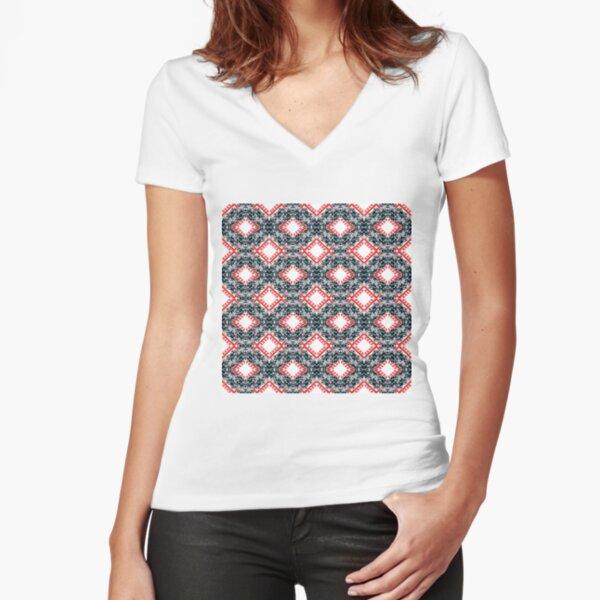 pattern, design, tracery, weave, ornament, decor, garniture Fitted V-Neck T-Shirt