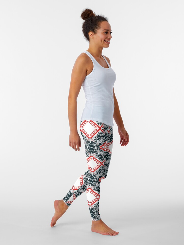 Alternate view of pattern, design, tracery, weave, ornament, decor, garniture Leggings