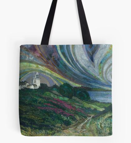 Clifftop Walk - Overstrand to Cromer, Norfolk Embroidery - Textile Art Tote Bag