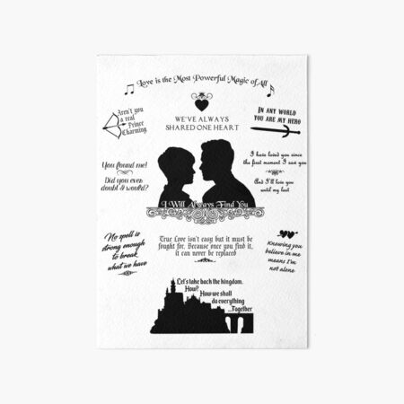 """Snow White and Prince Charming """"Iconic Quotes"""" Silhouette Design Art Board Print"""