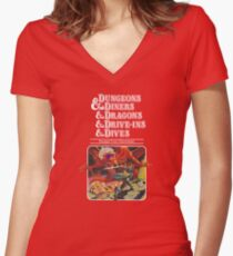 Dungeons & Diners & Dragons & Drive-Ins & Dives: Escape from Flavortown Women's Fitted V-Neck T-Shirt
