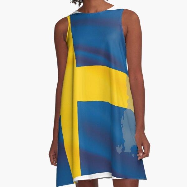 Sweden Flag A-Line Dress