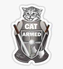The Cat armed  - joke Sticker