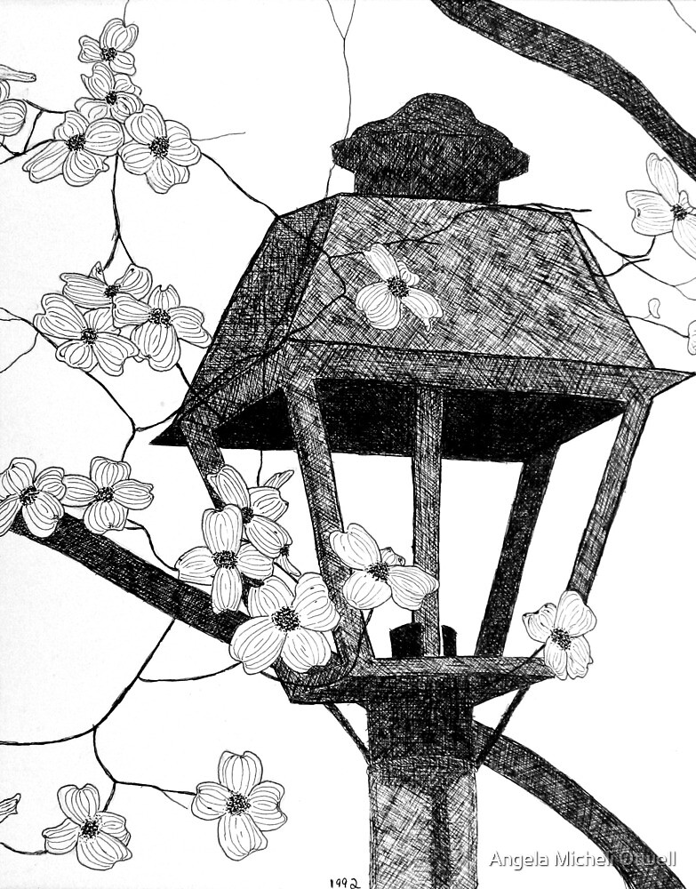 Pen and Ink Drawing of Dogwood and Lamppost by Angela Micheli Otwell