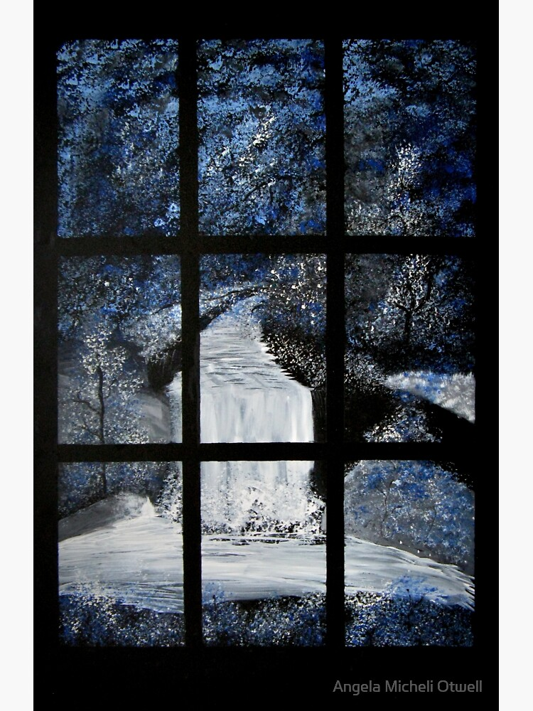 Painting of a Waterfall through a Window by ByFitsAndStarts