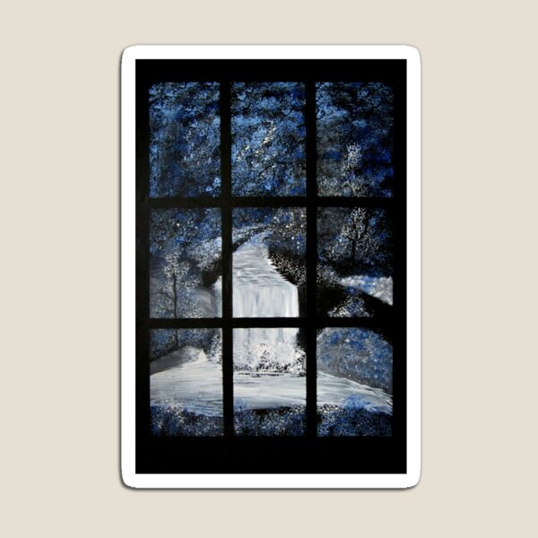 Painting of a Waterfall through a Window Magnet
