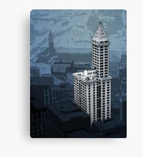 Smith Tower Map, Twilight Canvas Print