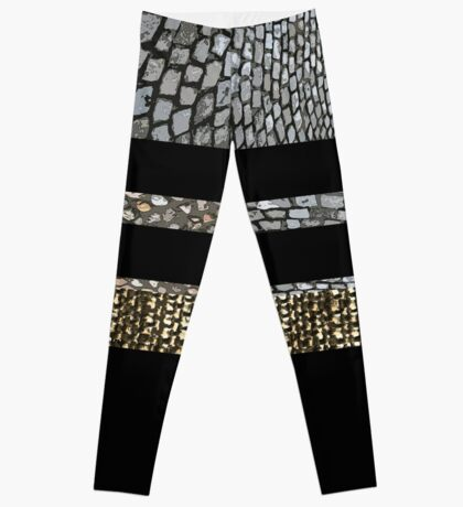 Edgy Bands of Fabric and Stone Leggings