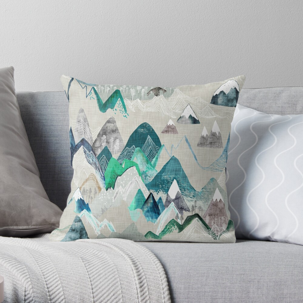 Call of the Mountains (in evergreen)  Throw Pillow