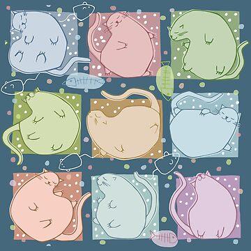 Blobby Cats Dark by mrana