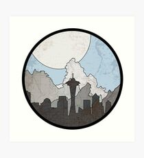 Map to the Pacific Northwest - Round Art Print