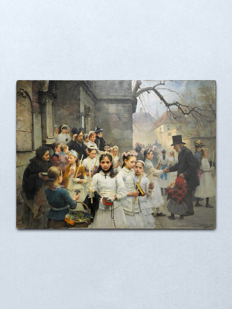 Alternate view of After First Communion by Carl Frithjof Smith (1892) Metal Print