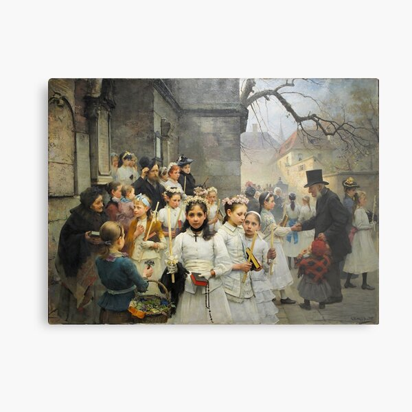 After First Communion by Carl Frithjof Smith (1892) Metal Print